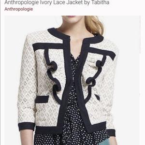 Anthropologie Tabitha White Lace Jacket